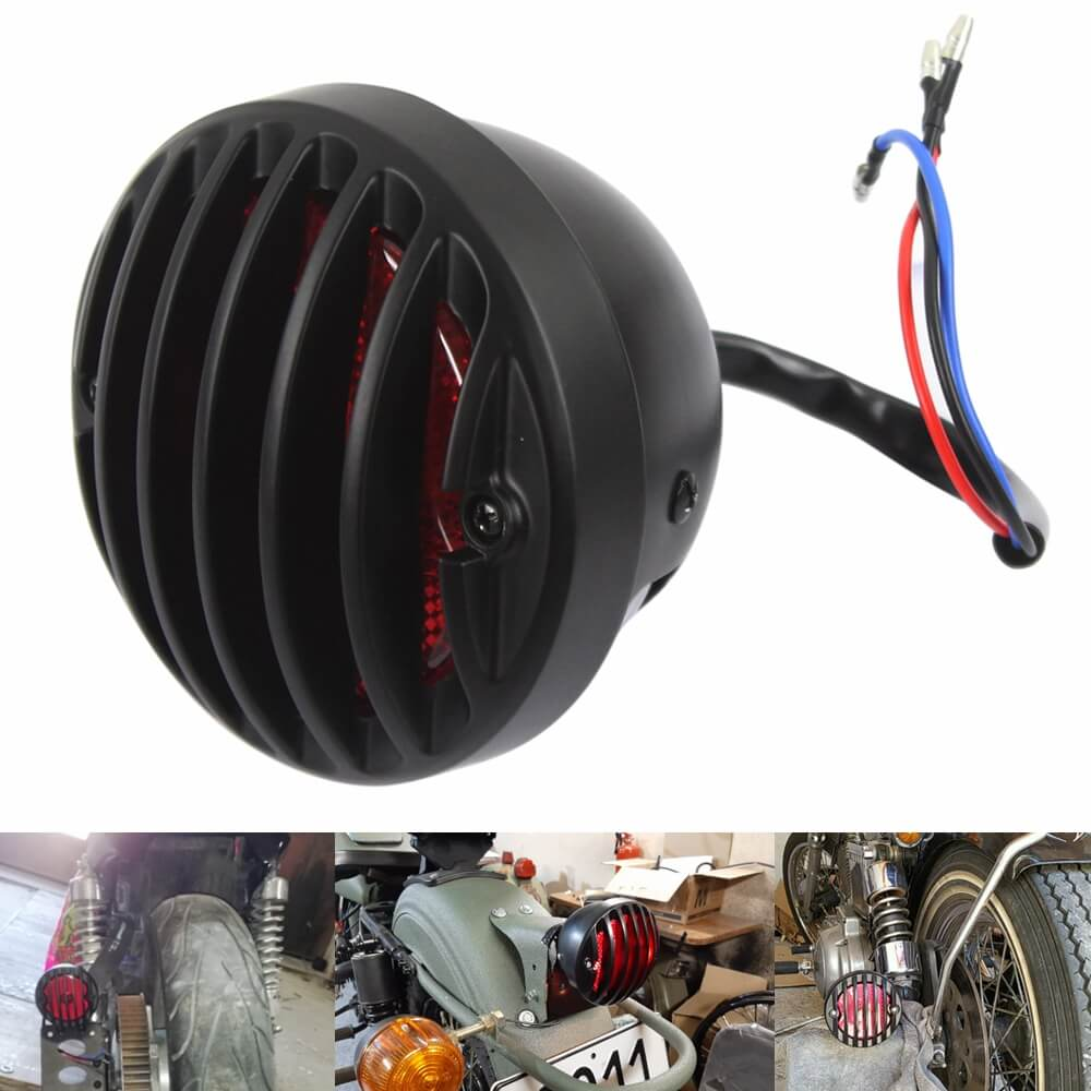 Universal Grill Round Motorcycle Tail Brake Light For Harley Bobber Chopper Rat Custom Cafe Racer - pazoma