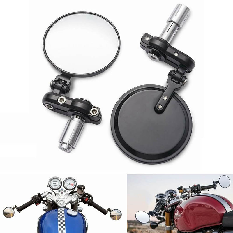 Black 1 Pair Folding Round Motorcycle Side Rearview Mirror Motorbike Durable Auto Part