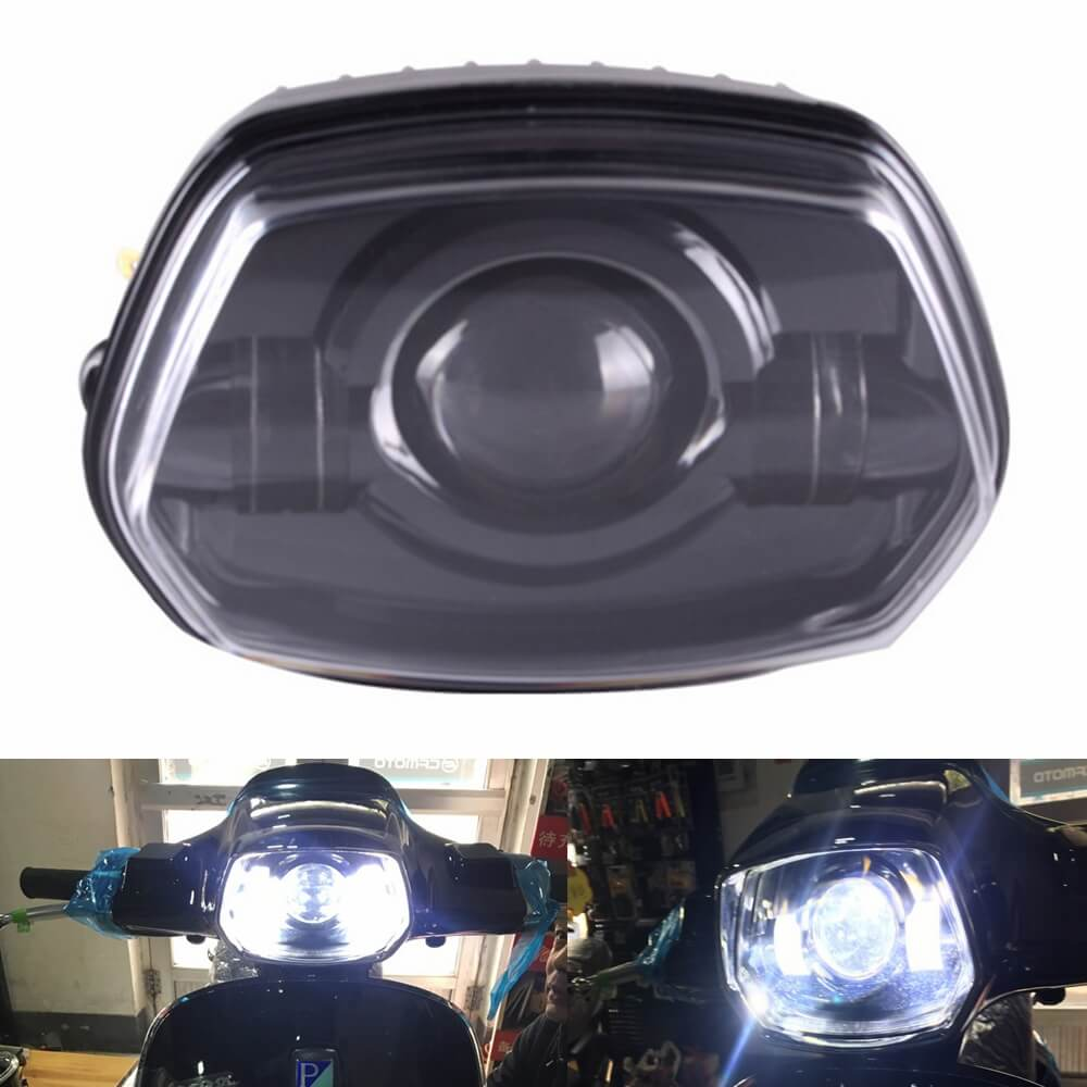 Scooter Motorcycle Front LED Headlight Lamp with High Low Beam for Vespa Sprint 150 GL Super GTR - pazoma