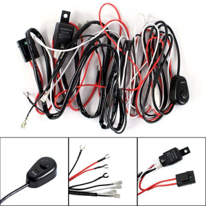 12V 40A Motorcycle Car Universal Accessories Fog Light Wiring Harness Kit Loom For LED Work Driving Light Bar With Fuse And Relay Switch - pazoma