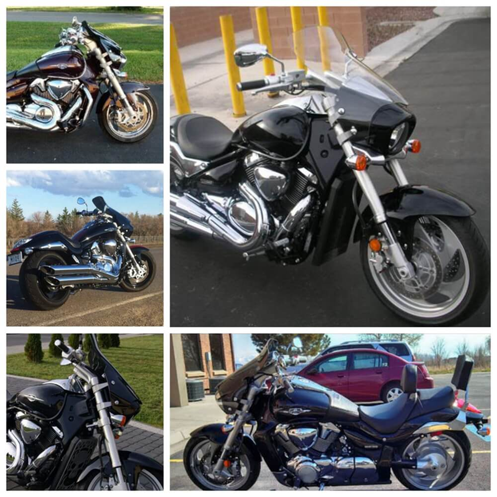 Suzuki Boulevard M109R B.O.S.S. M1800R Intruder VZR1800 M50 M90 M800 M1500 Tall Touring Sport 10in Windshield Windscreen 2006-2019 - pazoma