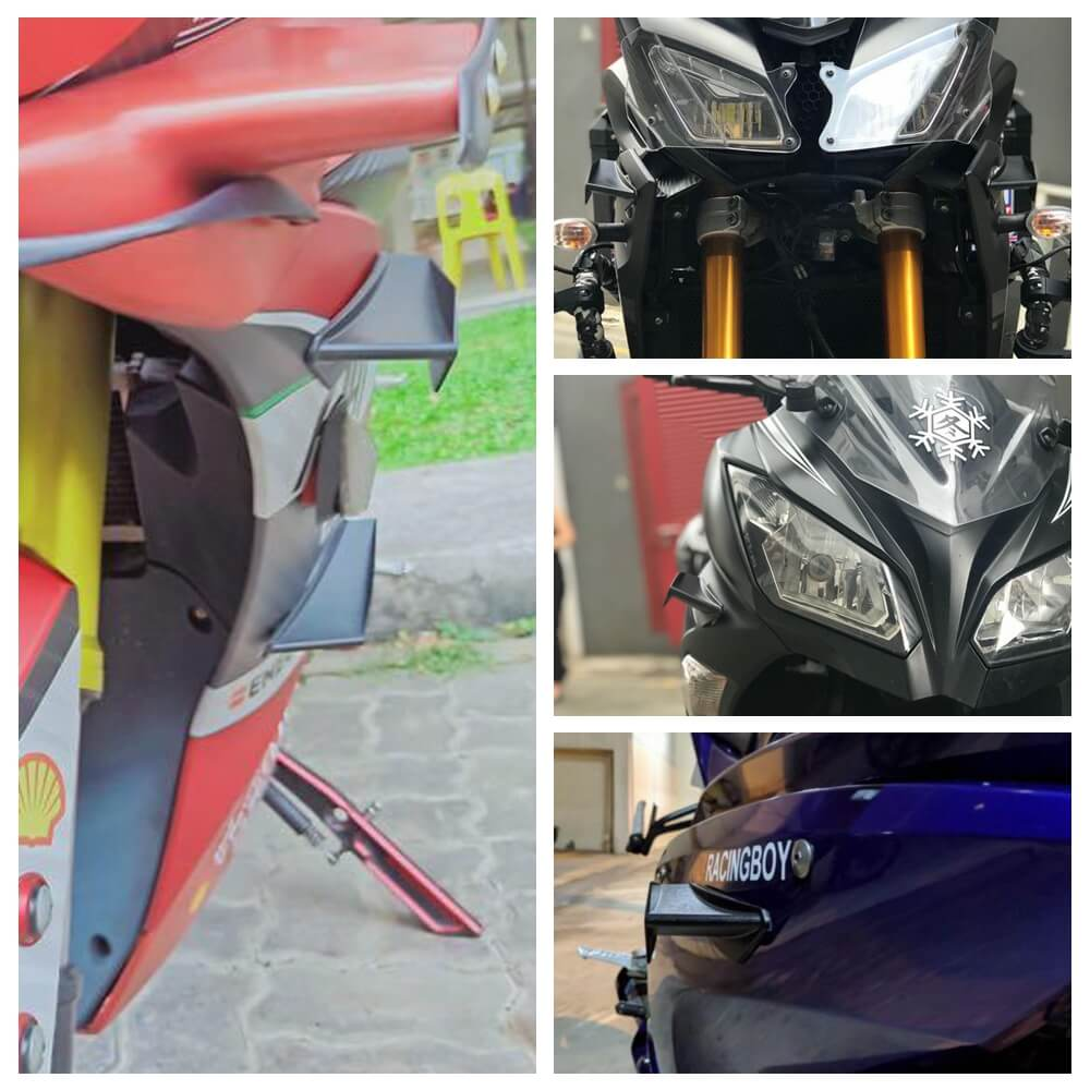 MotoGP Style Aero Dynamic Broken Wind Wing Kit Fixed Winglet Fairing Cover Universal KAWASAKI Ninja H2 H2R ZR ZX Z1000 Superbike Scooter - pazoma