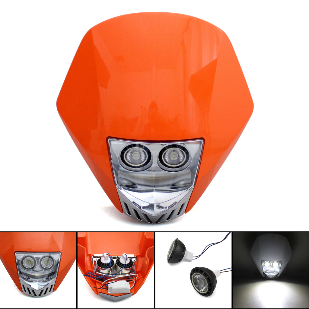 Dirt Bike Off-road Streetfighter Enduro Motocross Supermoto LED Headlight Head Lamp Fairing For Suzuki Honda Yamaha KTM Kawasaki - pazoma