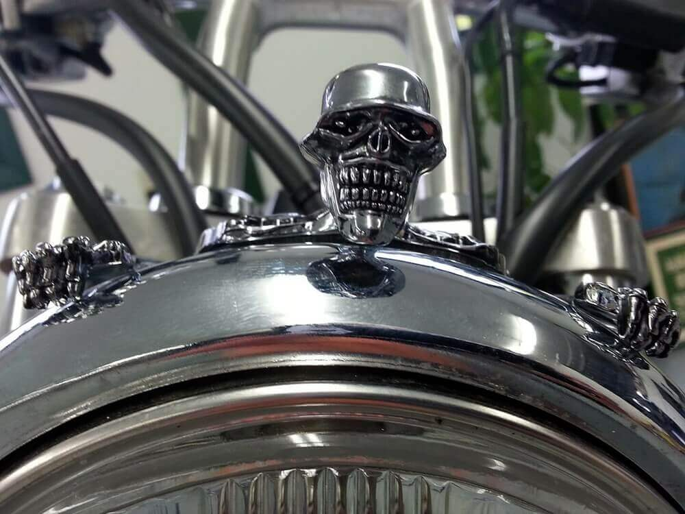 "Large Skeleton Skull Chrome Statue Fender Visor Ornament 7 inch 7"" Headlight Visor Trim For Harley Softail Dyna - pazoma"