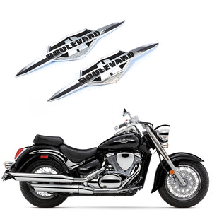 Suzuki Boulevard Chrome Fuel Gas Tank Badge Emblem Badge Decal Sticker for C50 M50 M90 S40 VL400 VL800 M109R VZR1800 M1800R - pazoma
