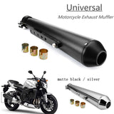 Motorcycle Cafe Racer Exhaust Pipe Muffler Tail Tube Silencer with Sliding Bracket Matte Black Chrome Universal Harley Bobber - pazoma