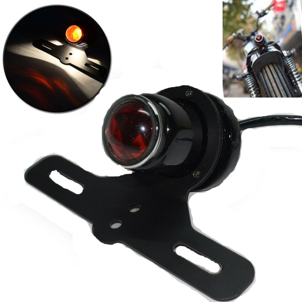 Lucas MT211 210 Retro Shotgun-Style Black Custom Rear Tail Light License Plate Holder For Harley Cafe Racer Chopper Bobber Kawasaki - pazoma