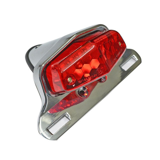 LED Lucas Style Fender Mount Taillights Brake License Plate Light Lamp for Harley Triumph Cafe Racer Vintage Chopper - pazoma
