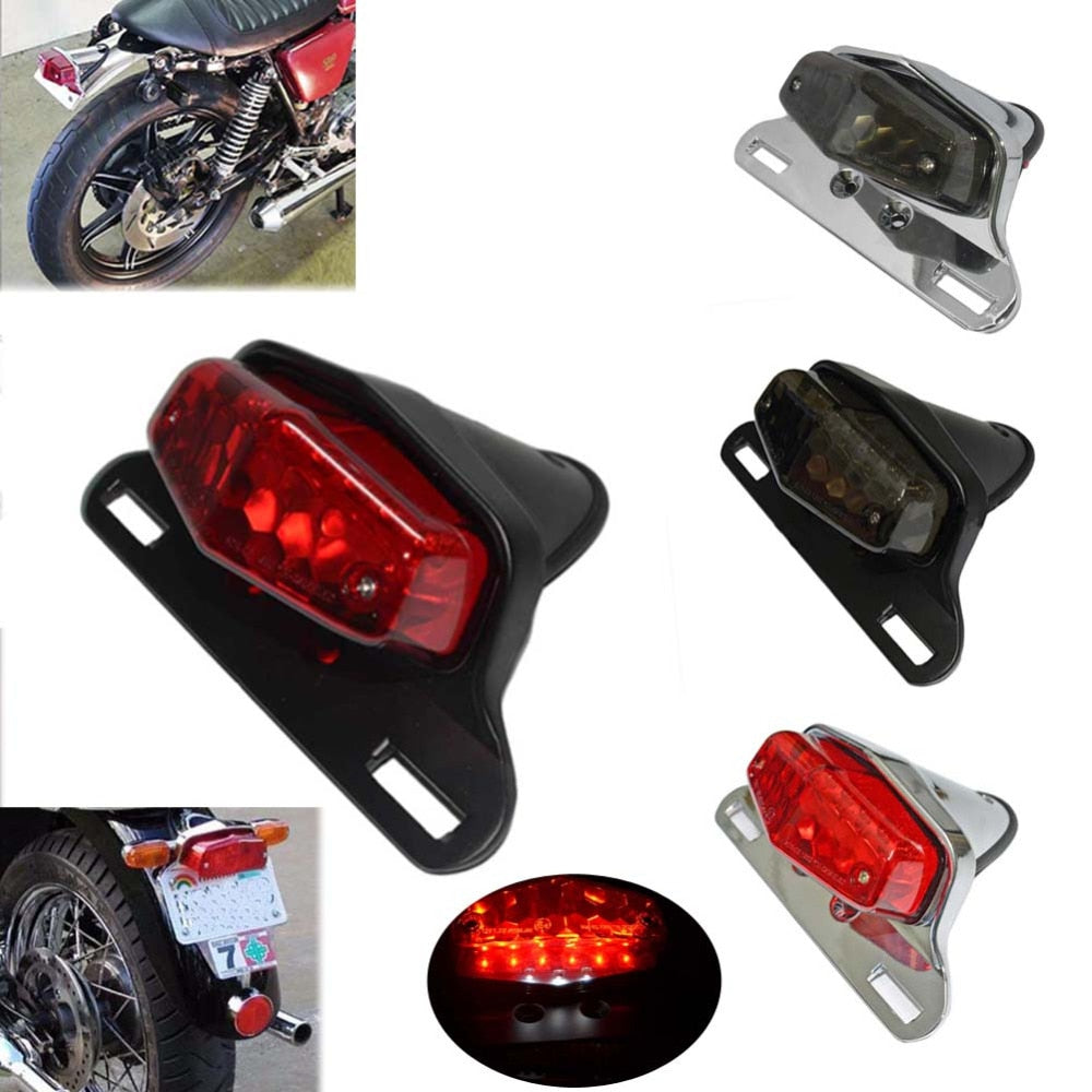 Motorcycle LED Tailight For Honda Triumph Bonneville BSA Norton Scrambler Lucas Tail Light Rear Light w/ License Plate Light - pazoma