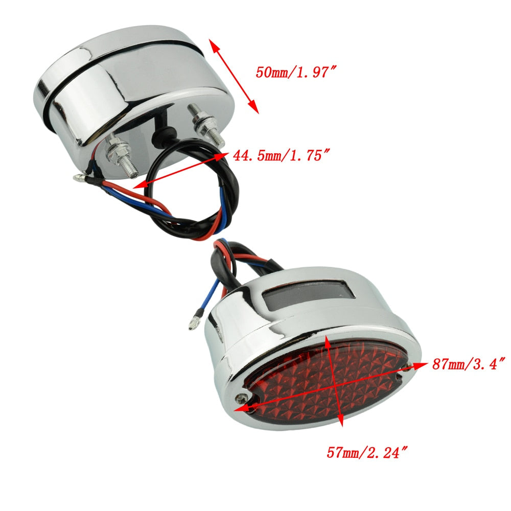 Motorcycle LED Tail Light For Harley Shovelhead Brake Stop Light Custom Softail Chopper Bobber Taillight Cat Eye Rear Lamp - pazoma