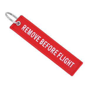 Remove Before Flight Red Fashion Tags Keychain Keyring Rectangle Polyester Embroidery Message 13*3CM Motorcycle 1 Piece - pazoma