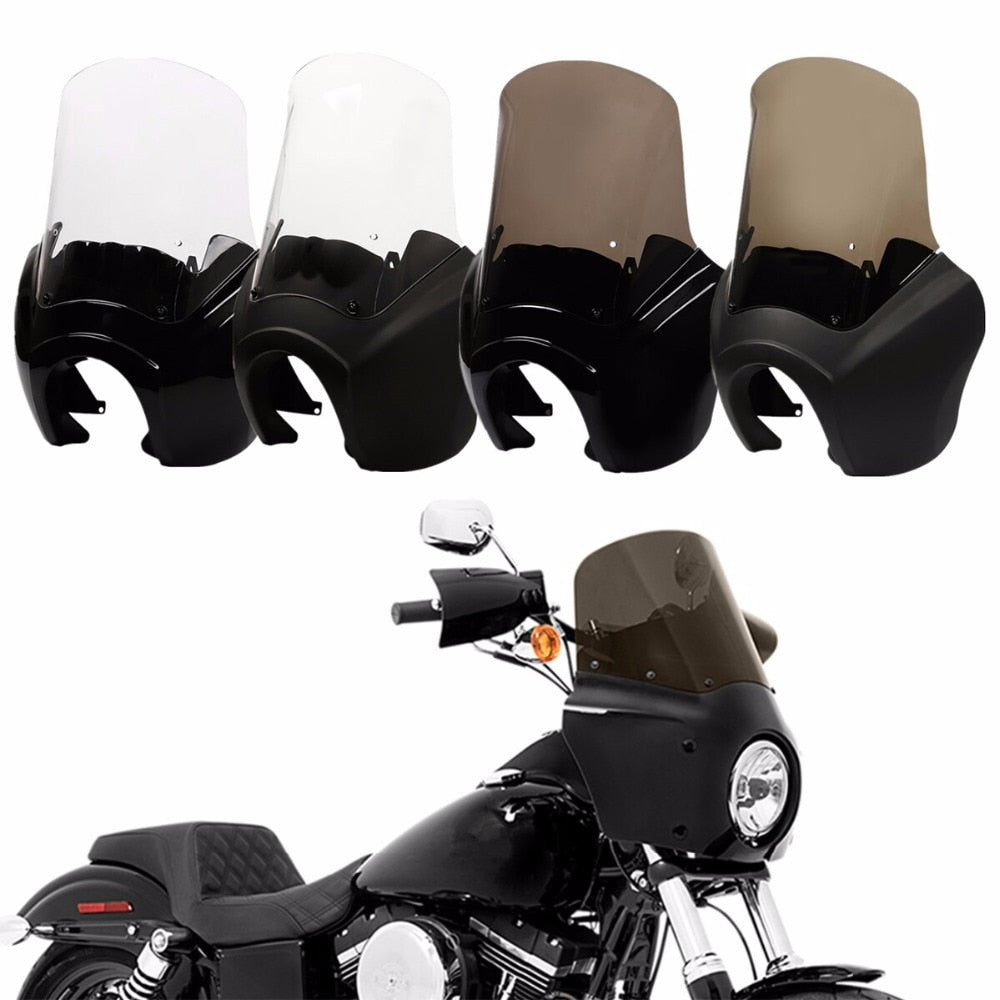 T-sport Front Headlight Fairing Windshield Harley Dyna Low Rider Super Wide Glide Fat Street Bob FXDL FXDXT W/Headlight Relocation Block - pazoma