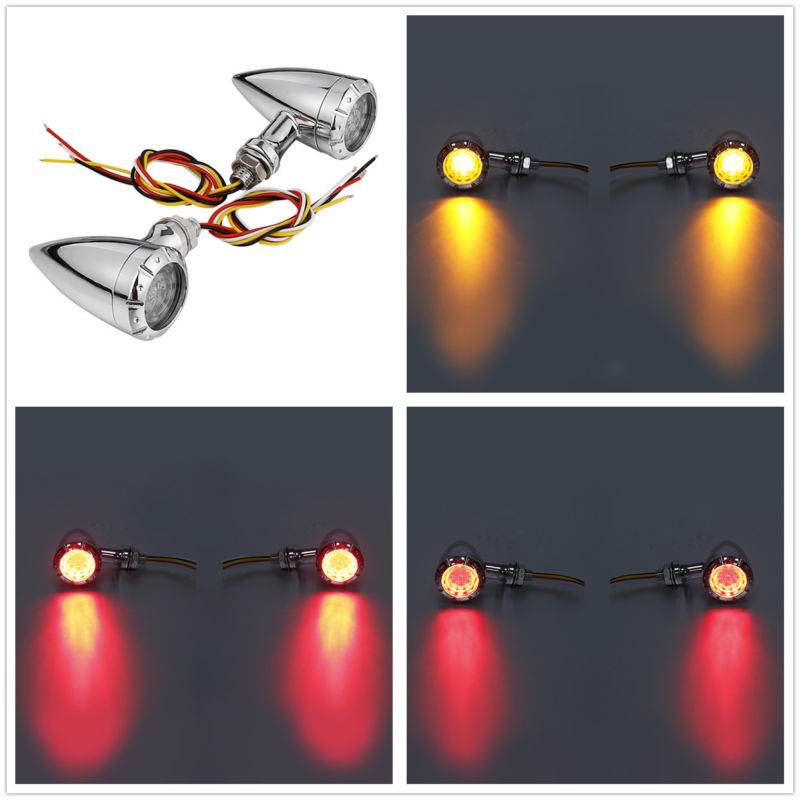 Universal Motorcycle 3 in 1 LED Turn Signal w/Taillight Indicators Light Bullet Blinker Lamp 12v for Harley Chopper Cruiser Bobber Cafe Racer - pazoma