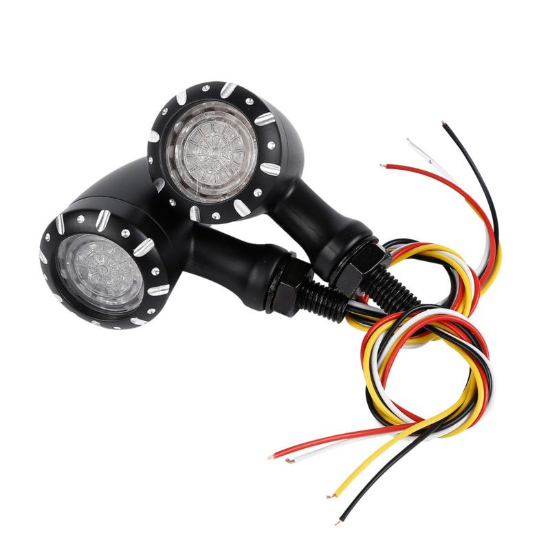 Motorcycle 3 in 1 LED Turn Signal w/Taillight Brake Blinker Light For Harley Cruiser Chopper Indicator Lights Pair 10mm - pazoma