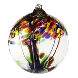 "10"" Blown Glass Hanging Orb Tree of Life"