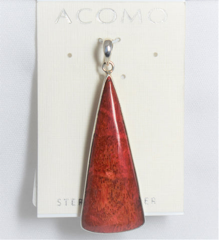Red Coral Pendant-Long Triangle
