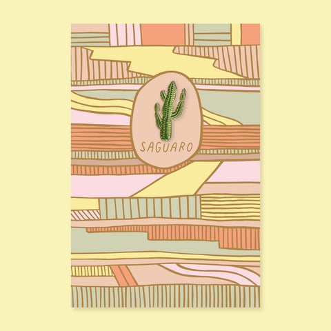 Saguaro Pin + Post Card