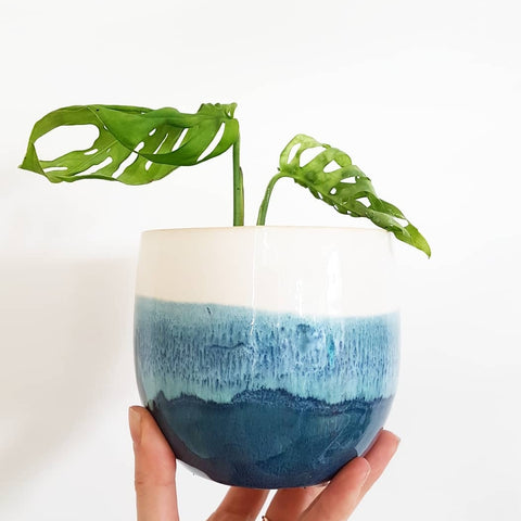 Ombre blue pot. Dark blue base, pale blue centre and white top. Indoor planter for indoor plants. Perfect pot for indoor plants. Ceramic pot with drainage hole.
