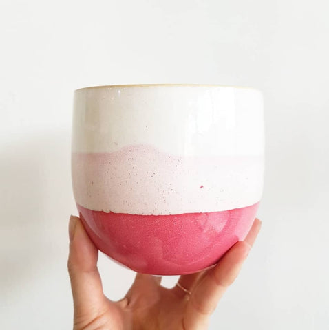 Ombre pink pot. Dark pink base, pale pink centre and white top. Indoor planter for indoor plants. Perfect pot for indoor plants. Ceramic pot with drainage hole.