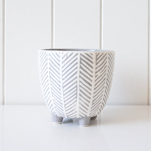 Chevron Planter - Grey/White