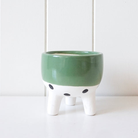 Mini Planter - Green and Polka Dots