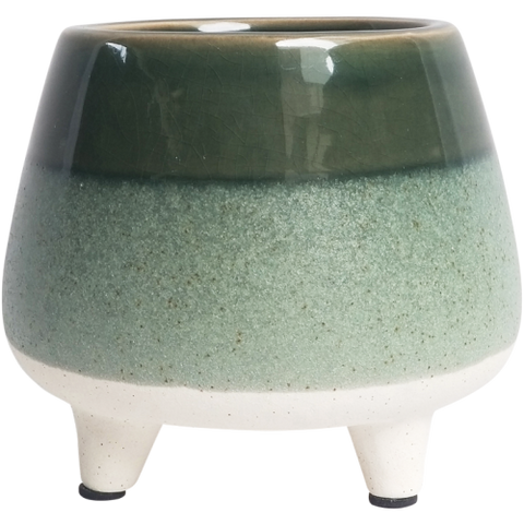 Green Ombre indoor pot or planter standing on mini feet. Desk planter. Dark green top, medium green middle with white bottom and feet. Mini feet. Cute indoor planter.