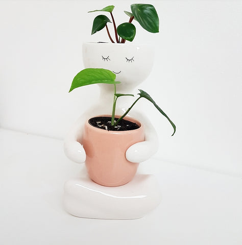 Person Planter with Pink Pot