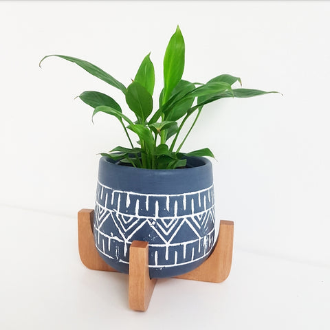 Tova Planter Pot on Stand in Dark Blue