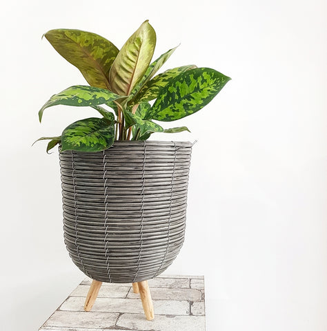Grey Rattan Basket on Legs - Large *Click & Collect Only*