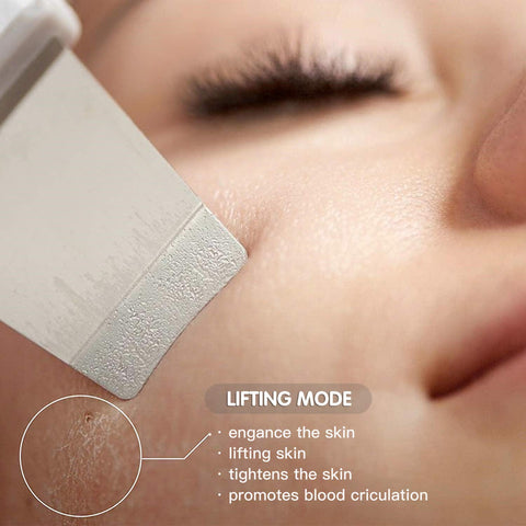 DEEP CLEANSING FACIAL---Through high-frequency vibration, the skin can be deeply cleaned. And the skin spatula helps the skin absorb nutrients, make the skin bright, shiny and elastic. This facial skin scrubber uses a water-based exfoliation technology that must be used on wet skin.