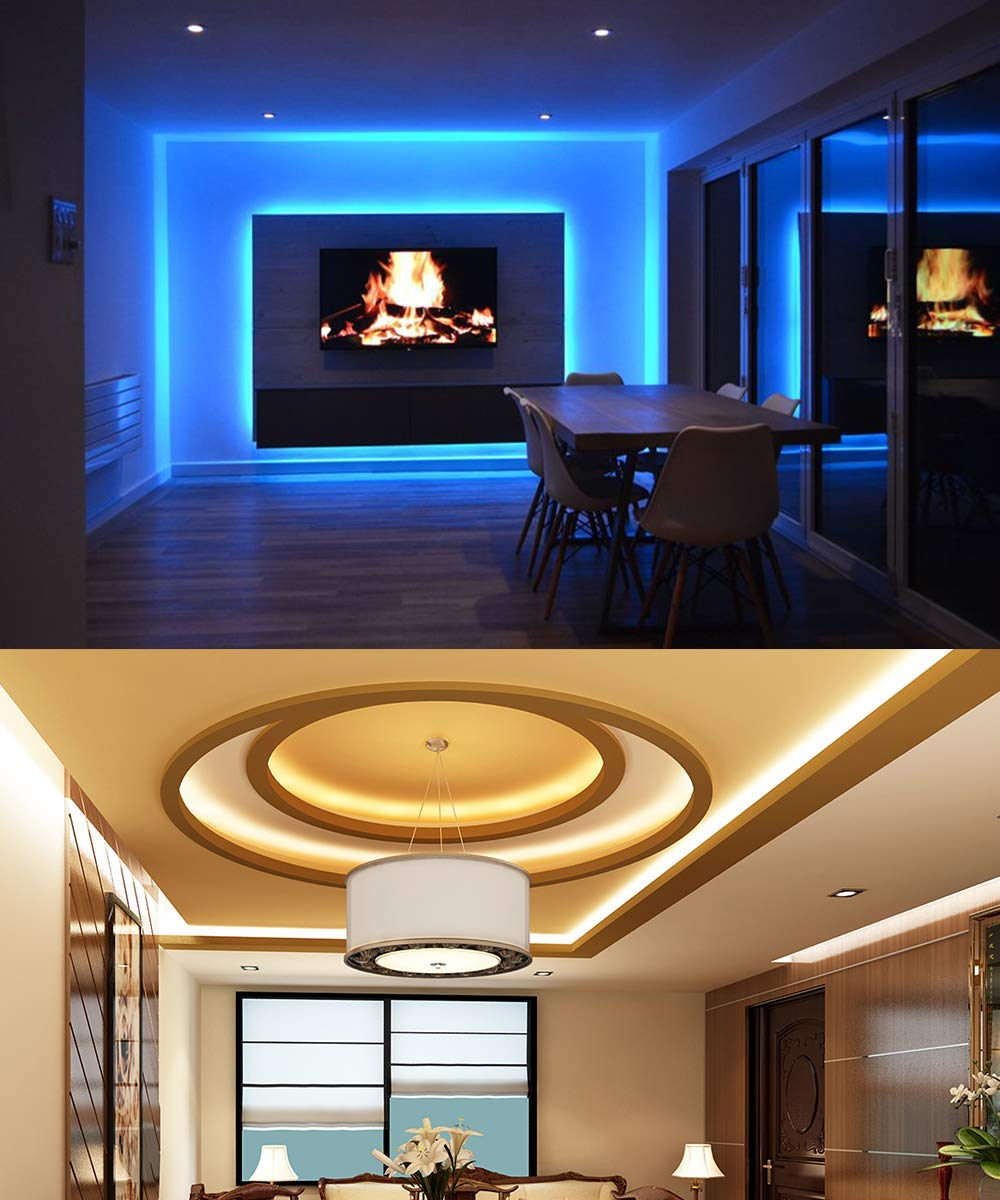 【Premium LED Strips】Led strip lighting has 150 premium 5050 SMD Leds in 16.4ft with dimmer and brightness controls. The light strip is non-waterproof, which is designed to be used indoor.