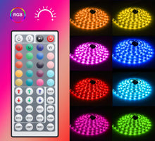 Load image into Gallery viewer, LED Strip lights with remote control.16.4Ft Non-Waterproof RGB Light Strip Kits with Remote for Room, Bedroom, TV, Kitchen, Desk, Color Changing Led Strip SMD5050 with 3M Adhesive and Clips, 12V Power Supply