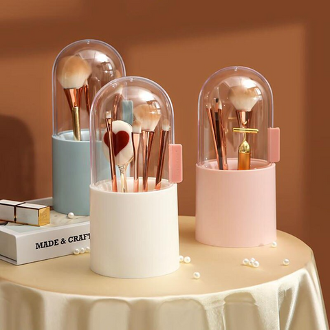Makeup Brush Holder with Lid Large Makeup Brush Organizer Cosmetics Brushes Storage Box Brushes Display Case Sliding Dustproof Cover with Free Pearls. Free Shipping from Viral Beauty Shop