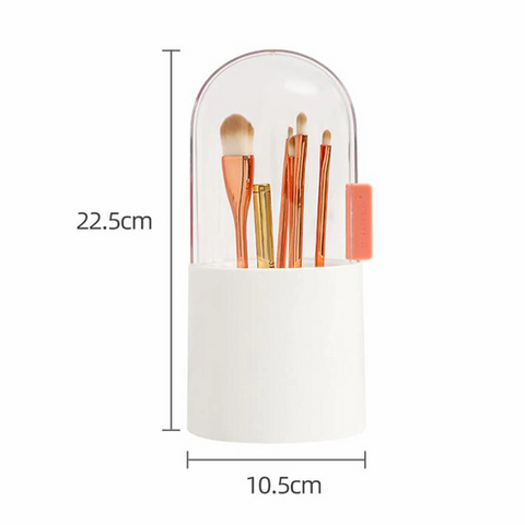 Makeup Brush Holder Organizer with Free White Pearls, Premium ABS Cosmetic Brushes Storage Box with Waterproof Dustproof Sliding Lid for Bathroom Bedroom Vanity Countertop