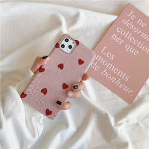 Textured Fabric Hearts iPhone Case