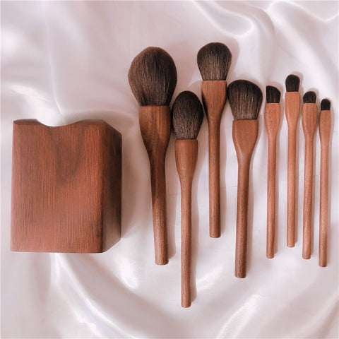 Fluffy Walnut Wood Brush Set with Holder