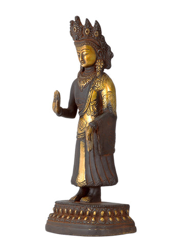Antiquated Brass Buddha with Ashtamangala Carving on His Robe 8.75""