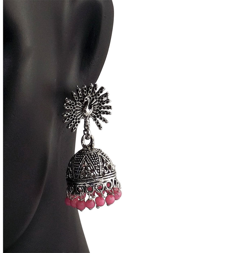 Pink Beads Peacock Beautiful Indian Style Sliver Color Jhumki Earrings
