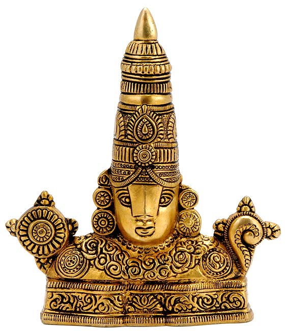 Lord Balaji Venkateswara - Brass Wall Plaque