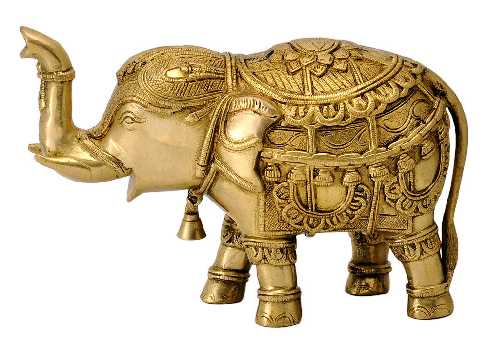 Decorative Brass Elephant with Upraised Trunk
