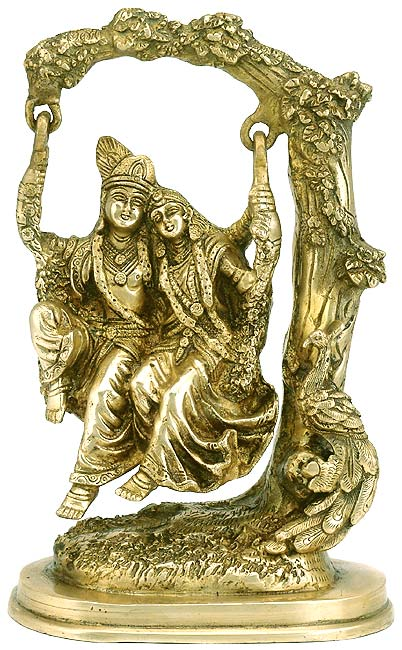 Radha Krishna on Jhula - Brass Statue