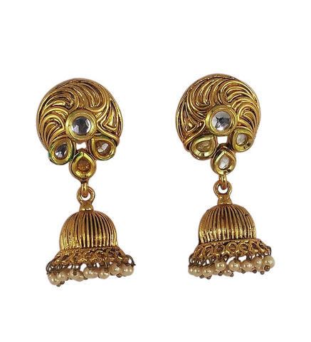 White Stone Studded Indian Jhumka Earrings