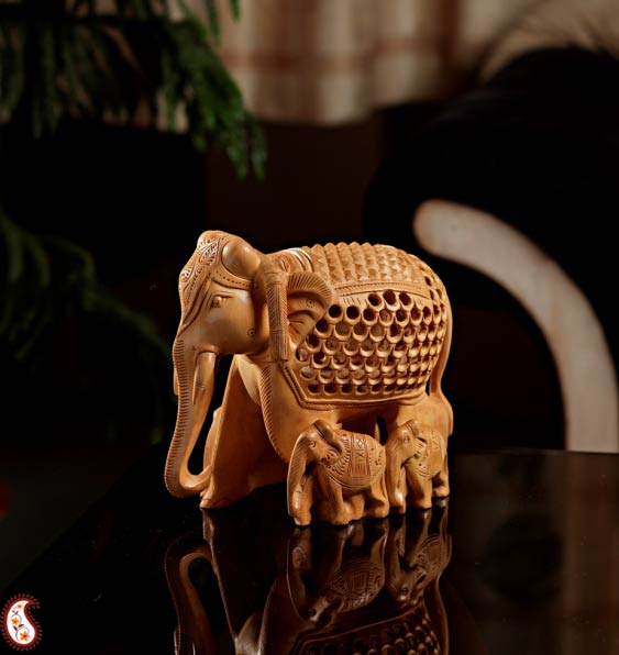 Royal Elephant Herd In Wood