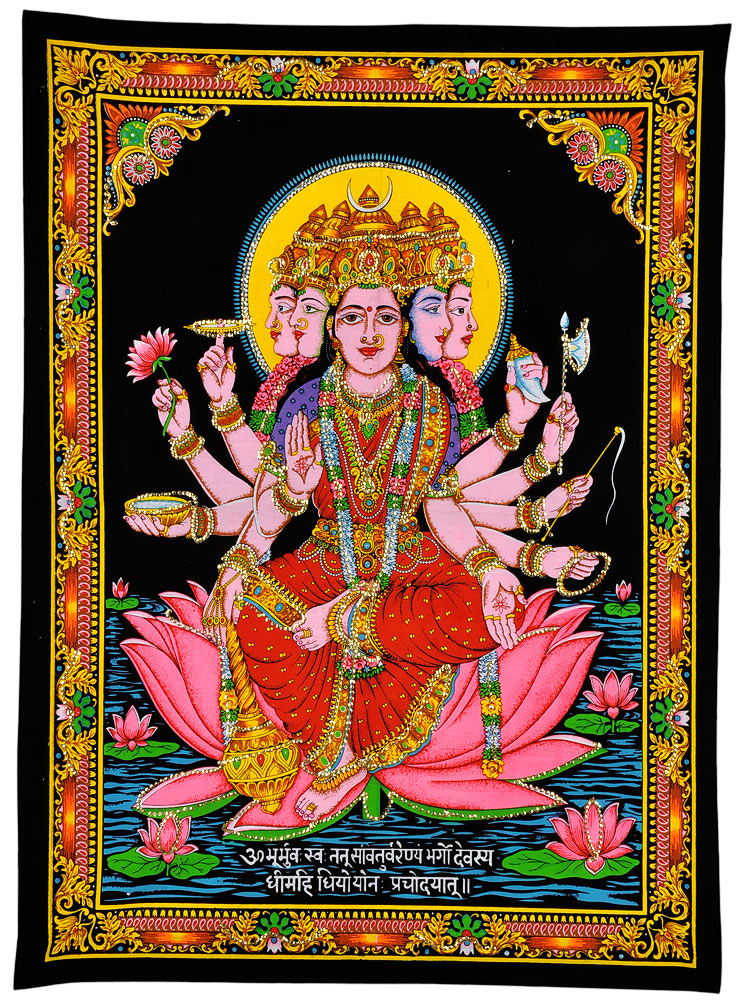 Veda Mata Gayatri - Sequin Decorated Cloth Print