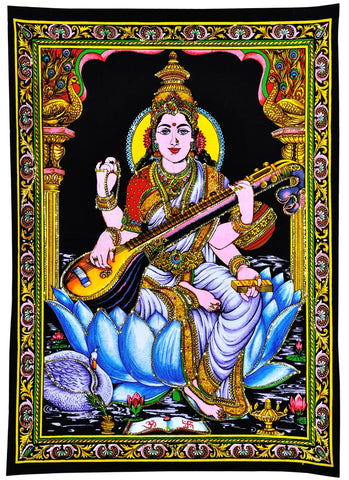 Kamalasna Devi Saraswati - Cloth Print with Sequin Work
