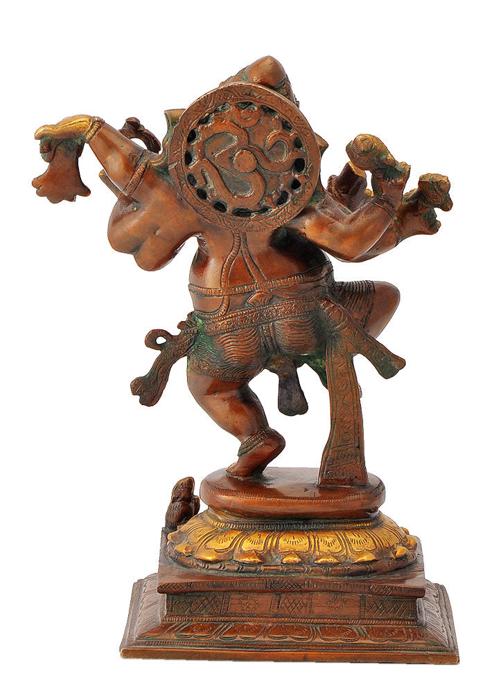 Six Armed Dancing Lord Ganesha Brass Sculpture