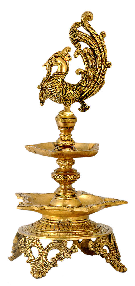 Brass Peacock Lamp ( Large ) 16""