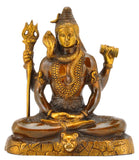 Meditating Dhyani Lord Shiva Antiquated Statue 7.75""