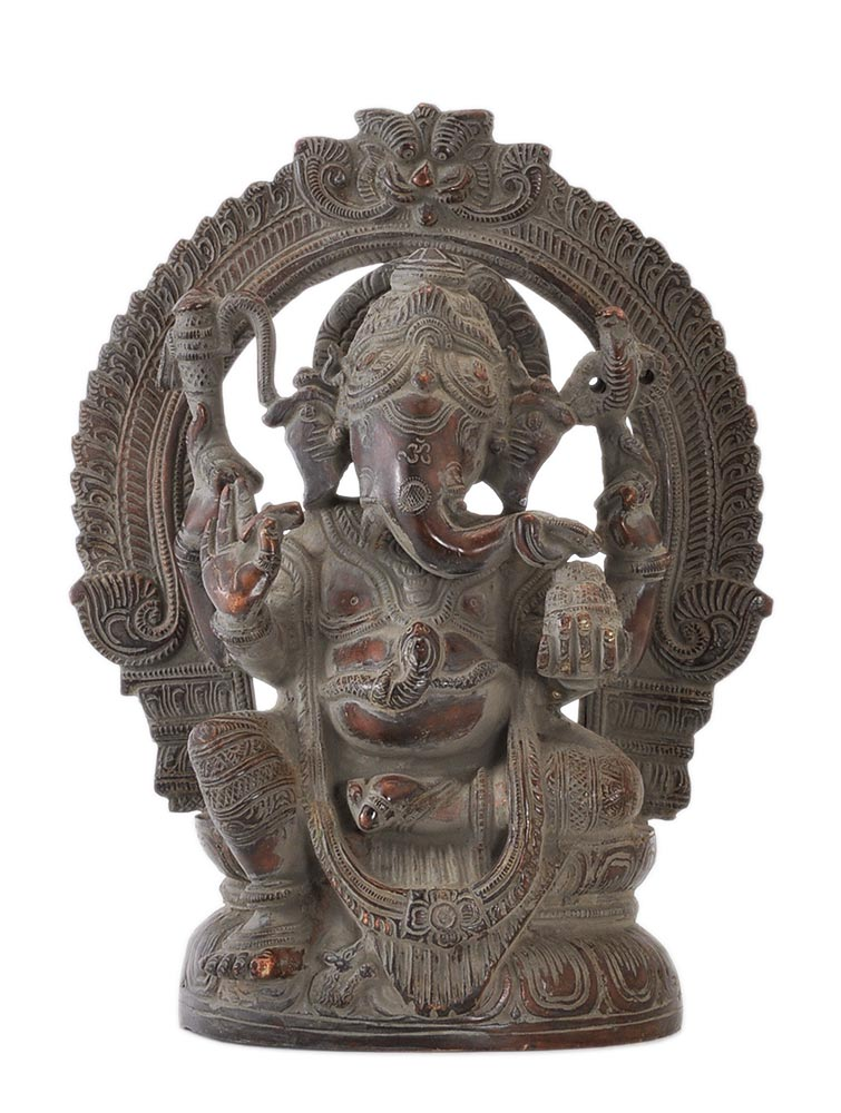 Hindu Lord Ganpati Deva Brass Statue Antique Finish