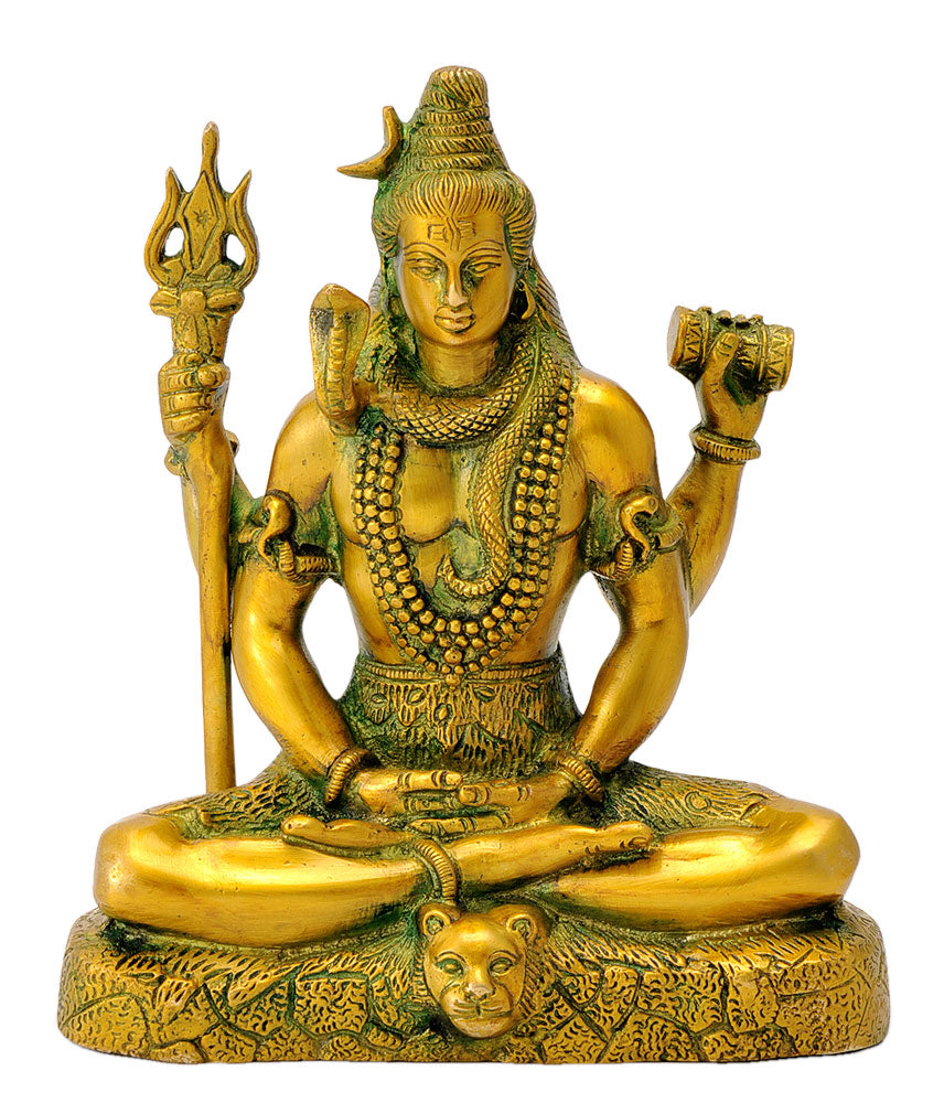 Mediating Lord Shiva Shankar Brass Sculpture 8""